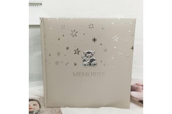 Silver Teddy Baby Photo Album 200