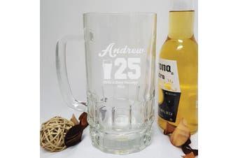 Engraved Personalised Glass Beer Stein (M)