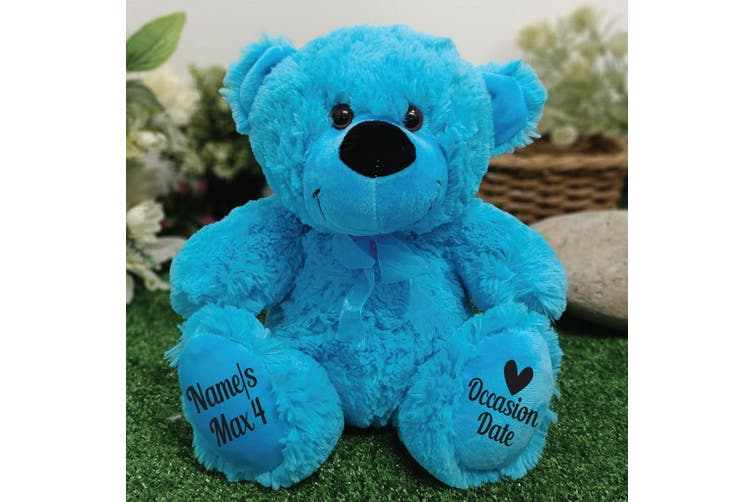 Christening Personalised Teddy Bear 30cm Bright Blue