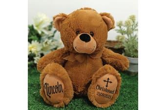 Christening Personalised Teddy Bear 30cm Brown
