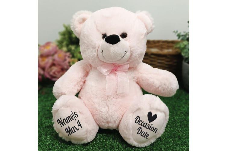Christening Personalised Teddy Bear 30cm Light Pink