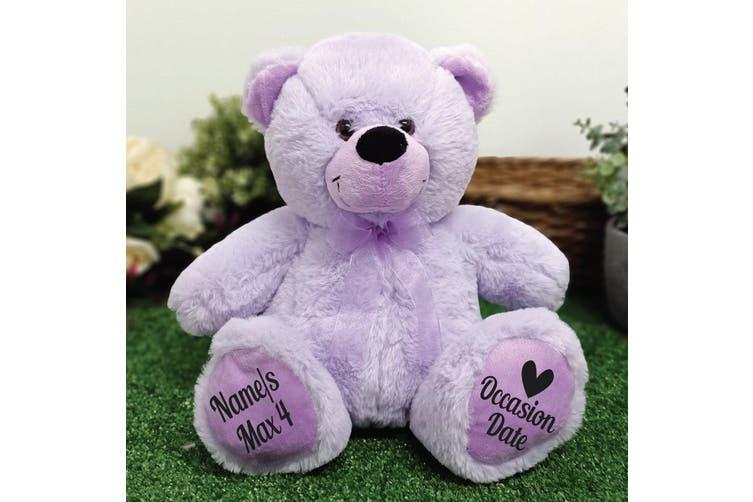 Christening Personalised Teddy Bear 30cm Lavender