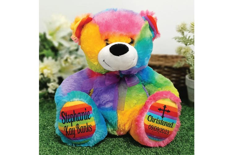 Christening Personalised Teddy Bear 30cm Rainbow