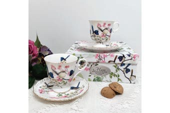 Cup & Saucer Set in Personalised Mum Box - Blue Wren