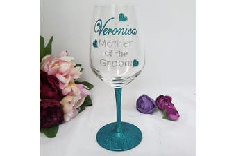 Mother of the Groom Personalised Wine Glass Hand Painted Glittered