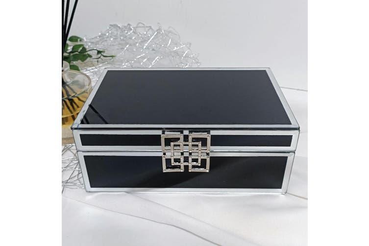 Flower Girl Black Glass Jewel Box w/Silver Edge
