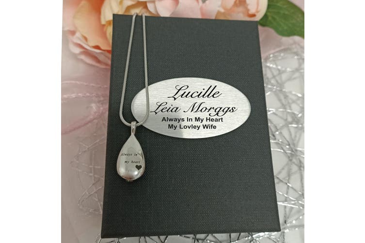 Teardrop Memorial Urn Cremation Ash Necklace in Personalised Box