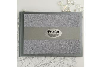 50th Birthday Personalised Glitter Guest Book- Pewter