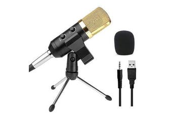 Audio Dynamic USB Condenser Sound Recording Vocal Microphone Mic With Stand Mount BLACK