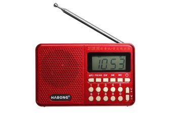 Portable Digital FM AM SW Radio 21 Band Charge Receiver Speaker MP3 Player RED
