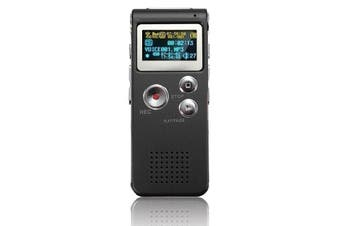 Steel Rechargeable 8GB 650HR Digital Audio Voice Recorder MP3 Player BLACK