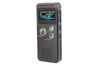 Steel Rechargeable 8GB 650HR Digital Audio Voice Recorder MP3 Player IRONGRAY