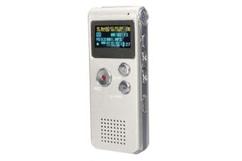 Steel Rechargeable 8GB 650HR Digital Audio Voice Recorder MP3 Player SILVERYGRAY