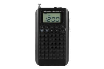 Portable Digital LCD FM/AM 2 Band Stereo Radio Mini Pocket Receiver with Earphone Black