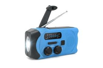 Hand-Crank Solar Power Dynamo AM/FM/WB NOAA Global Weather Radio Flashlight Power Bank BLUE