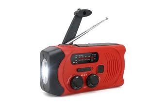 Hand-Crank Solar Power Dynamo AM/FM/WB NOAA Global Weather Radio Flashlight Power Bank RED