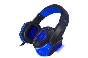 3.5mm USB Wired Gaming Headband Headphone with LED Light Surround Stereo Headset for XBOX PS4 Game Console Computer BLACKBLUE