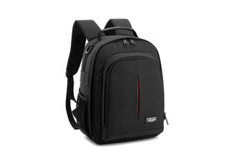 Water-resistant Shockproof Camera Bag Shoulder Carry Travel Backpack for Canon for Nikon DSLR Camera Tripod Lens Flash Black