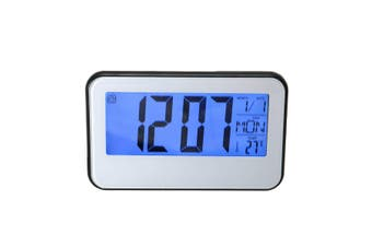 LCD Display Digital Alarm Clock Sound Controlled With Thermometer Backlight Snooze BLACK