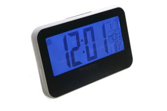 LCD Display Digital Alarm Clock Sound Controlled With Thermometer Backlight Snooze white