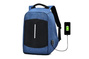 """Men Canvas Multifunction Sport Bag Casual Anti Theft 17"""" Backpack with USB Charging Port BLUE"""