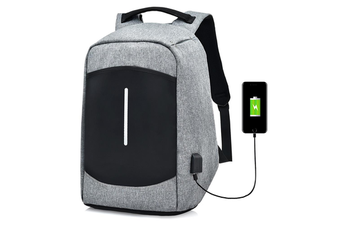 """Men Canvas Multifunction Sport Bag Casual Anti Theft 17"""" Backpack with USB Charging Port GRAY"""