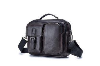 Men Genuine Leather Briefcase Shoulder Bag Business Travel Messenger Crossbody Laptop Handbag BLACK