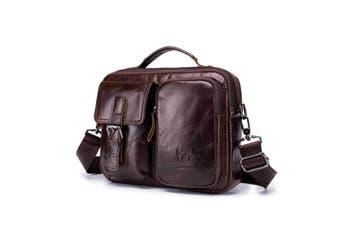 Men Genuine Leather Briefcase Shoulder Bag Business Travel Messenger Crossbody Laptop Handbag BROWN
