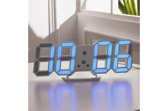 Large Modern Digital Led Skeleton Wall Clock Timer 24/12 Hour Display 3D Gife BLUE