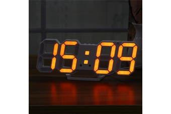 Large Modern Digital Led Skeleton Wall Clock Timer 24/12 Hour Display 3D Gife ORANGE