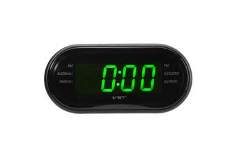 "1/2""LED Display Alarm Clock Timer AM/FM Radio 24-Hour System Multi-function GREEN"
