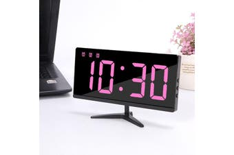 Multifunctional LED Digital Alarm Clock Time Snooze Temperature Table Bedside PINK