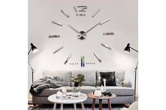 Big Large DIY Frameless Wall Clock Kit 3D Mirror Decoration Silver YS