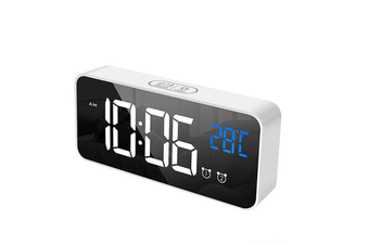 Smart LED Sound Control Mirror Electronic Clock Student Portable Home Desktop USB Charging Mute Snooze Music Alarm Clock WHITE