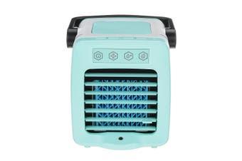 USB Mini Handle Air Cooler Humidifying Purifying 300mL Water Tank LED Light Fan blue