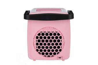 USB Mini Handle Air Cooler Humidifying Purifying 300mL Water Tank LED Light Fan pink
