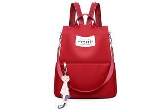 Outdoor Women Anti-Theft Backpack Oxford Cloth Waterproof Shoulder Bag Girls School Back Pack RED