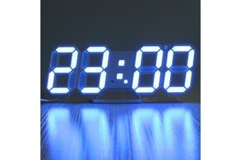 3D LED Digital Wall Clock Alarm Clock USB Stereo Clock Built-In Automatic Light Sensor Date Time Temperature Display Function BLUE