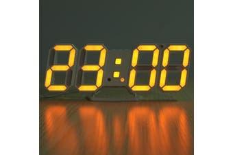3D LED Digital Wall Clock Alarm Clock USB Stereo Clock Built-In Automatic Light Sensor Date Time Temperature Display Function ORANGE