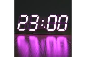 3D LED Digital Wall Clock Alarm Clock USB Stereo Clock Built-In Automatic Light Sensor Date Time Temperature Display Function PINK