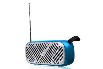 FM Radio Wireless bluetooth5.0 6W Stereo Speakers SD Card U-disk Playback Music Player BLUE