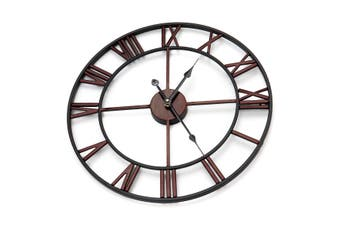 45cm Large Wall Clock Big Roman Numerals Giant Open Face Metal For Home Outdoor Garden COPPER