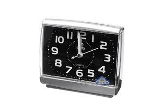 Silent Alarm Clock Quartz Movement Battery Alarm Clock Home Desk Table BLACK