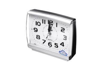 Silent Alarm Clock Quartz Movement Battery Alarm Clock Home Desk Table WHITE