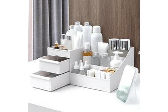 Plastic Cosmetic Organizer Makeup Case Holder Drawers Jewelry Parts Storage Box S WHITE