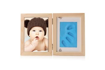 New Born Baby Hand Foot Print Soft Clay Photo Frame BLUE