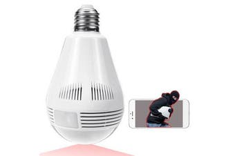 360° Panorama Fisheye IP Bulb Camera Lamp CCTV Monitor Light Bulb WIFI Night Vision