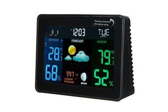 DC 4.5V Wireless Weather Station Multifunction Clock Digital Temperature Humidity Meter Indoor / Outdoor WWVB With Low Battery Indicator LCD Colorful Display Alarm And Snooze Function