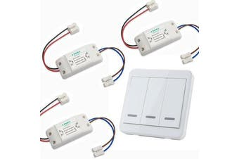 3pcs Wireless Light Switch Kit + KTNNKG 433MHz Universal Wireless Remote Control 86 Wall Panel RF Transmitter With 3 Buttons