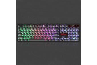 104 Keys Retro Round Keycaps Rainbow Three-color Backlight Gaming Keyboard